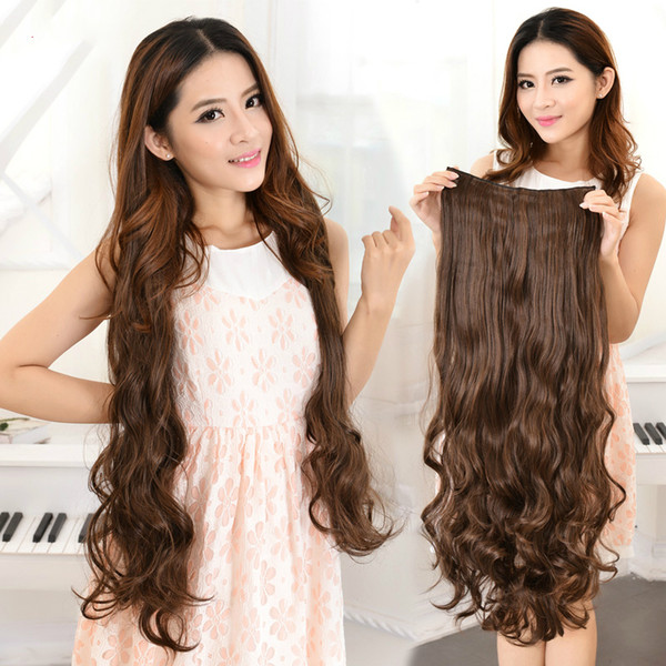 "top popular 39"" 32"" 24"" 18"" super long five clip in hair extensions synthetic hair curly thick 1 piece for full head high quality 2019"