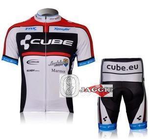 Frete grátis + PAD Coolmax + Poliéster + 2012 branco CUBO manga curta Ciclismo Jerseys e Calças Set / Ciclismo Desgaste / Ciclismo roupas