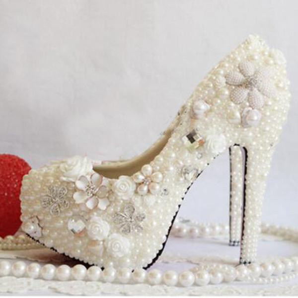 Weiße Hochzeitsschuhe Perle Applizierte Brautkleid Schuhe Handgemachte Nachtclub Bankett Frauen Schuhe 3 Zoll Prom Party Heels