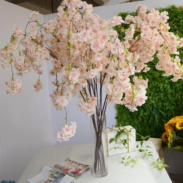 136 CM 54 inç Romantik Yapay Asılı Şeftali Kiraz Çiçeği Vine İpek Çiçekler Şubeler Ev Düğün Dekorasyon Çiçek buket