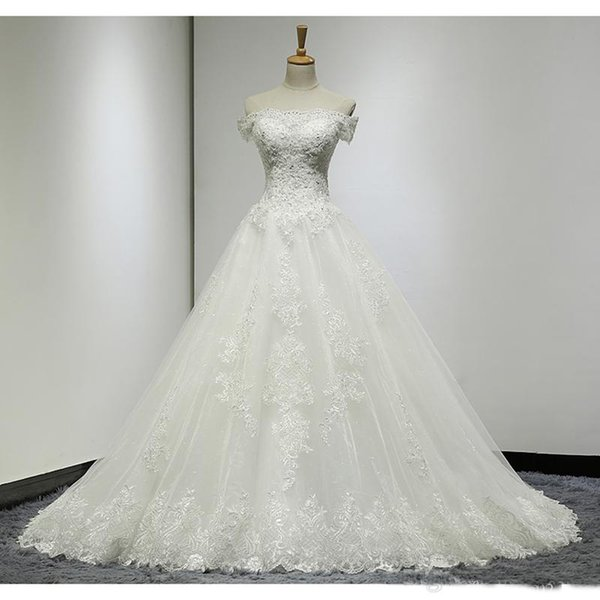 2019 Real Photos A Line Wedding Dresses Off-Shoulder Applique Lace/Organza Lace-up Back Court Train Bridal Gown Beads Bodice