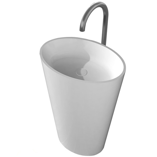 CUPC Certificate Freestanding Solid Surface Stone Bathroom Corian Wash Basin Cloakroom Round Pedestal Vessel Sink RS38281