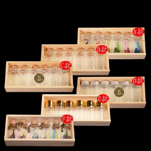 Viales de vidrio vintage de 6 piezas / caja alojados en una delicada caja de madera (Print for you) Paquete de mini botella de caja Package-6 estilos para usted