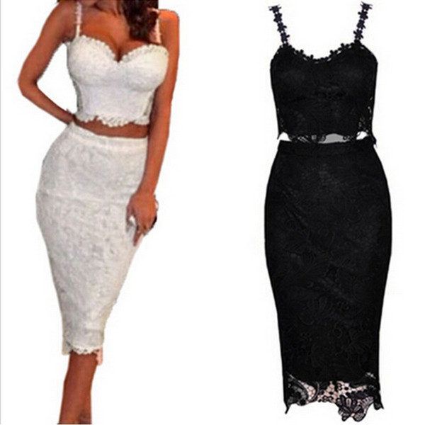 8d2c1d79c7f7 2 Piece Set Women Two Piece Outfits Black White Lace Dress Female Club Wear  Knee Length Tunique Sexy Midi Bodycon Dresses BZD