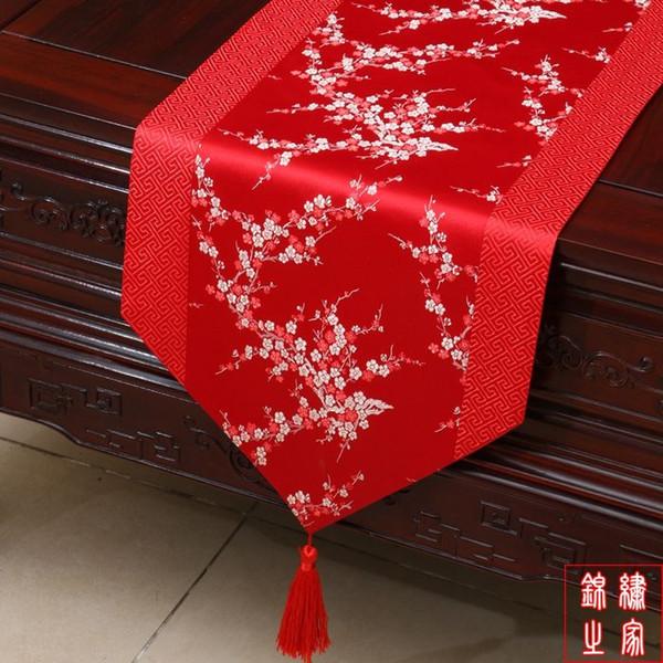 Элегантный китайский узел декоративные свадебный прием стол бегунов роскошный шелк парчи лоскутное вишня цветет конец скатерть