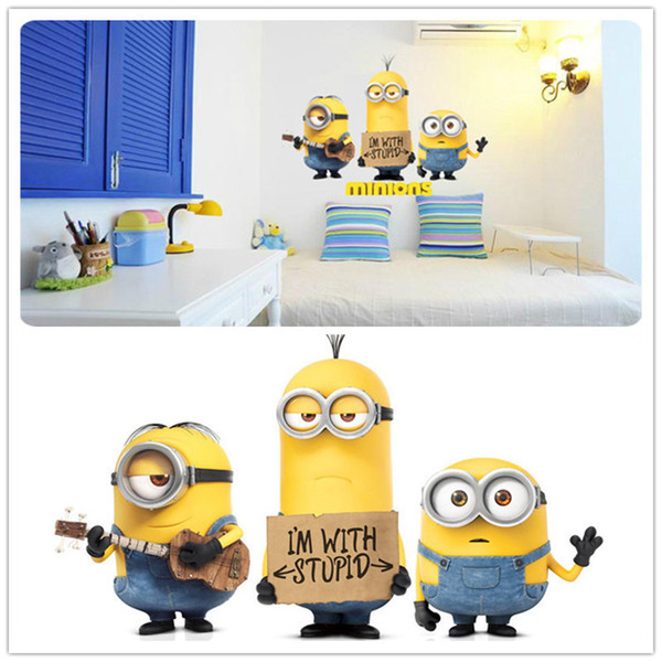 2015 Newest Minions Wall Stickers Cartoon Despicable Me Stuart Kevin Bob Christmas Party Decoration Wallpaper Kids