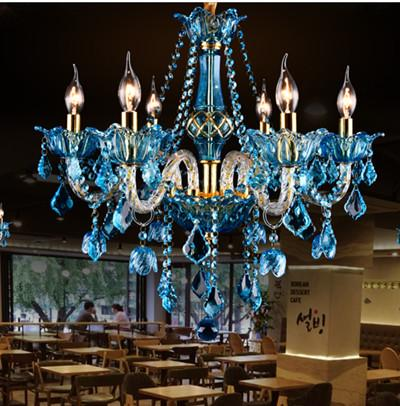 Italy blue cafe light lu tre dining room multi color modern cry tal chandelier led home lighting ktv re taurant bar lamp lampadario