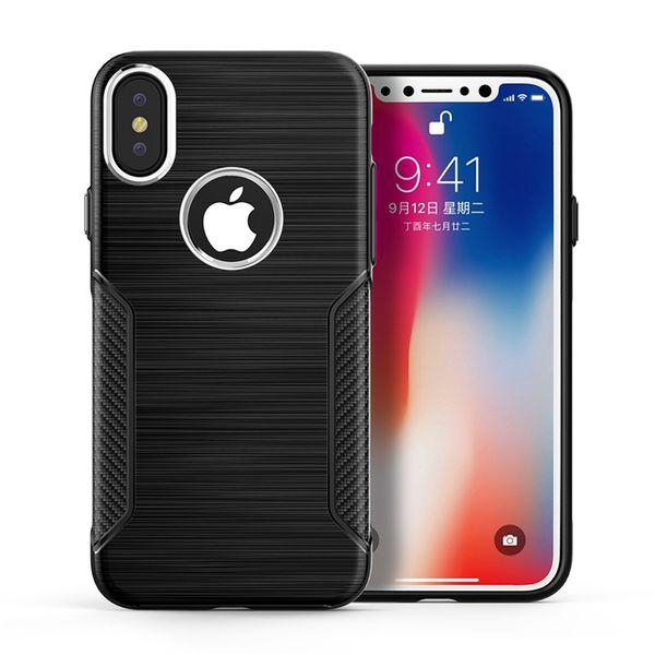 goophone x 8 plus case Hybrid Super rugged armor caus for iphone 7 6 plus Carbon Fiber Texture Brushed tpu metal button case