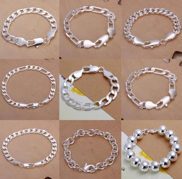 Figaro Chains 9pcs/lot Promotion! Multi Styles Of Fashion Bracelet Men's\Boys' 925 Sterling Silver Jewelry Curb