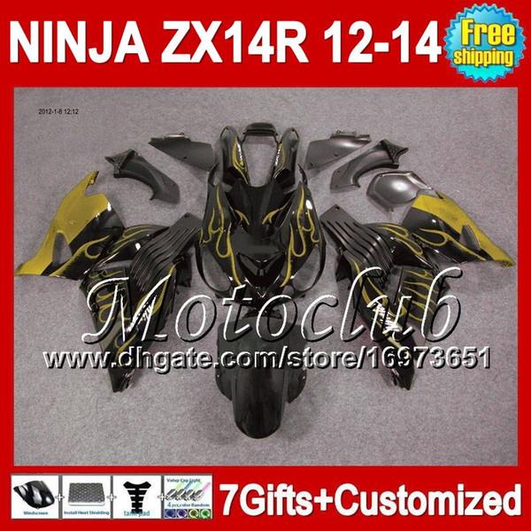 7gresiones para KAWASAKI NINJA ZX14R 12-13 ZX-14R 25C10 ZX 14R 12 13 llamas de oro 12 13 ZX14 R 2012 2013 2012 2013 ZX 14 R Carenado dorado negro