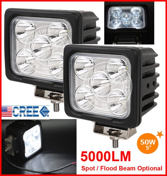 "DHL 2PCS 5"" 50W CREE 5LED*10W Driving Work Light Square Offroad SUV ATV 4WD 4x4 Spot / Flood Beam 9-30V 5000lm POWER Truck Forklift Bright"