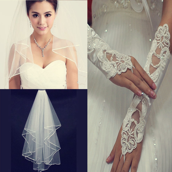 Cheap 2pieces White Or Ivory Cheap Wedding Veils With Comb Pearls Gloves