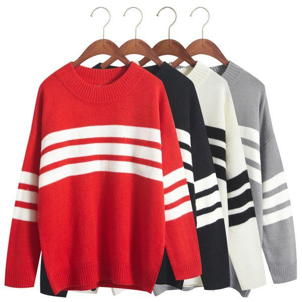 Mulheres Casual Camisola Moda Inverno Hit Color Stripe Manga Longa Pullovers Soltos Jumpers Womens Blusas Quentes Nova Coreano YEE3321