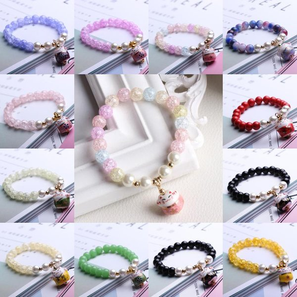 2017 Fashion Porcelain Natural Bead Bracelet Lucky Cat Ceramic Beaded Bracelet For Women Charms Bracelet Bead Cinnabar Birthday Gift D186S