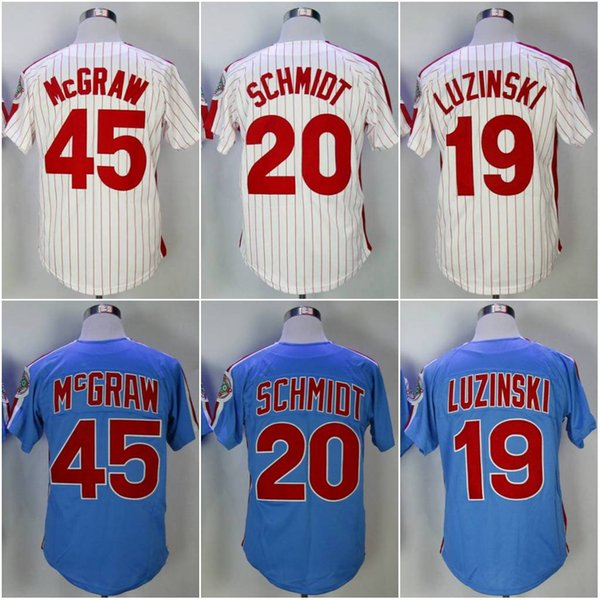 the best attitude 64140 102a3 2019 Throwback Men'S Philadelphia #45 Tug McGraw 20 Mike Schmidt 19 Greg  Luzinski Authentic Baseball Jerseys White Blue Cool Base Player Jersey From  ...