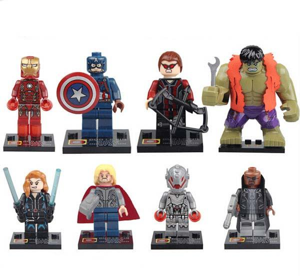 New Super Hero The Avengers 2 Iron Man Hulk Wolverine Batman Spiderman Captain American Action Figure Toy 8pcs