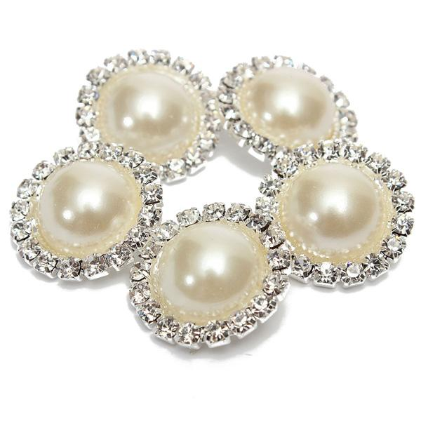 New Arrival 5 Pcs Bling Rhinestone Ivory Pearl Silver Tone Shank Round Button Sewing Craft order<$18no track