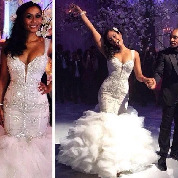 Glittering Crystal Beaded Mermaid Wedding Dresses 2018 Sweetheart Cascading Ruffles Sheer Tulle Sweep Train Luxury Bridal Gowns Custom Made