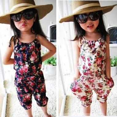 top popular summer kids clothes for girls siamese trousers baby girl ruffle romper children jumpsuit girls summer ruched one-piece free shipping 2020