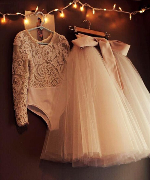 top popular Two Pieces Evening Dresses Cheap Tutu Tulle Ribbon Lace Long Sleeve Prom Dresses Tea Length Modest Formal Dresses Party Evening Gowns 2020