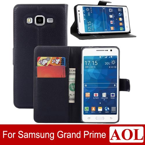 High Quality Galaxy Grand Prime Leather Case Luxury Wallet Credit Card Stand Skin Cover for Samsung Galaxy g5308 g530 Colorful free shipping