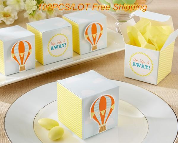 2016 Perfect Wedding gift box for Guests Hot Air Balloon Baby Favor Box For baby birthday party favor box and Baby shower favor 100Pcs/lot