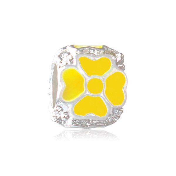 Yellow Painted Lucky Clover Heart Charm Bead Big Hole Fashion Women Jewelry European Style For Pandora Bracelet