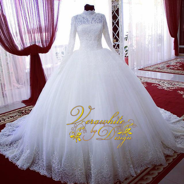 2016 New High Neck Long Sleeves Wedding Dresses White Tulle with Pearls Court Train Ball Gown Bridal Gowns Vestidos De Noiva Custom
