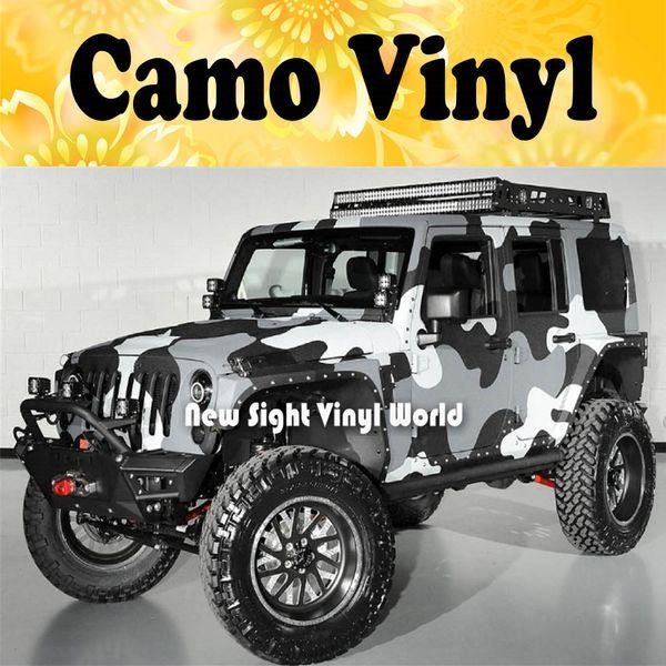 Jumbo Camo Sticker Bomb Vinyl Car Wrap Nero Grigio Bianco Snow Camouflage vinile Bubble Free Formato: 1.50 * 30m / Roll