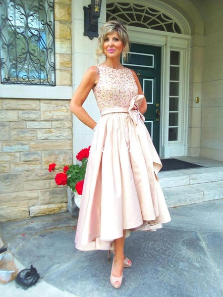 Mother of the Bride Dresses for Wedding Ruffles Satin Bow Sequins Bateau Cheap Hi-Lo 2019 Women Evening Dresses Formal Wears