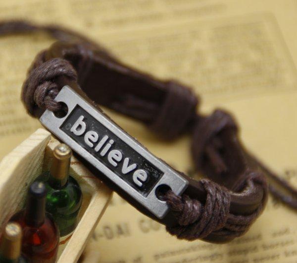 BELIEVE bracelets mens bracelet 12pcs/lot Handmade for men's women believe Leather Bracelet braided Tribal Adjustable Size jewelry