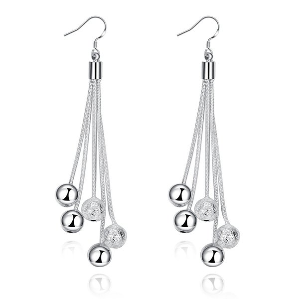 High quality Bling bling White K Jewelry Earrings five-string sand beads earrings silver plated 5 balls shape simple earrings