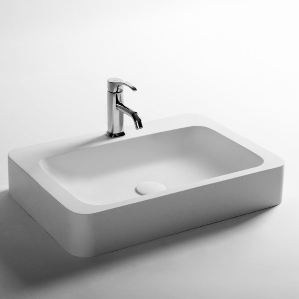 Rectangular Bathroom Solid Surface Stone Wash Basin Above Counter Matt White Or Glossy Laundry Vessel Sink RS3862