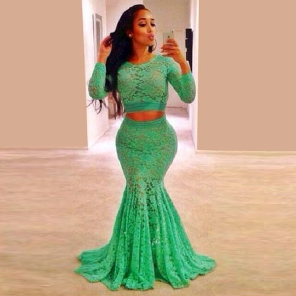 Hot Sale Mint Green Lace Long Sleeve Prom Dresses Plus Size For ...