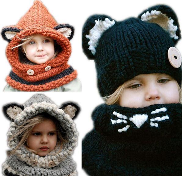 Hiver Enfants Chaud Renard Animal Chapeaux Tricoté Coif Cap Écharpe Bonnets Pour Automne Hiver JIA631