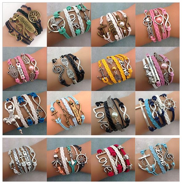 top popular DIY Infinity Charm Bracelets Antique Cross Bracelets Hot sale 55 styles fashion Leather Bracelets Multilayer Heart Tree of Life Jewelry 2019