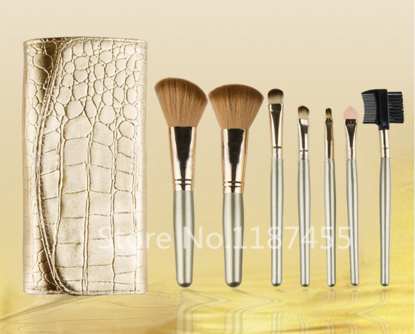 7 PCS Professional Makeup Cosmetic Brush set cerdas cepillo de oro y kit de manija cepillo (20 piezas / lote) + regalo