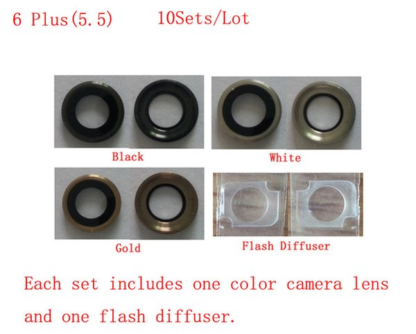(6P5540810AM)(10Sets/Lot by AM)100% High Quality for iPhone 6 Plus (5.5) Rear Camera Lens Tempered Glass+Flash Diffuser Black White Gold