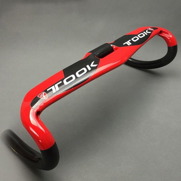 TOOK Carbon Road Mountain Bike Bicicletta Racing Drop Bar Manubrio 400/420/440 Rosso