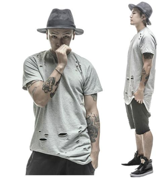 2016 estendido camisetas hip hop Moda Buraco Streetwear Kanye West manga curta camisetas longas roupas legal ganhos