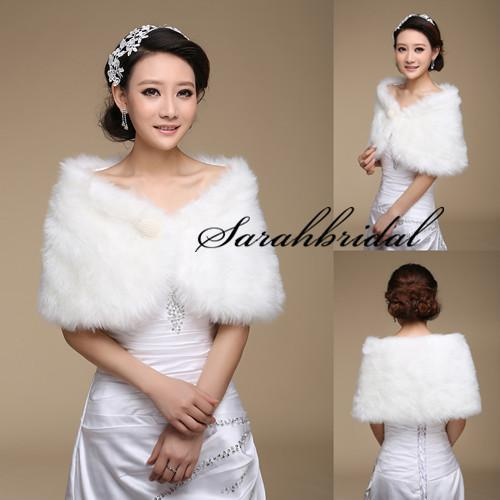 top popular 2015 New White Pearl Bridal Wrap Shawl Coat Jackets Boleros Shrugs Regular Faux Fur Stole Capes For Wedding Party 17004 Free Shipping 2021