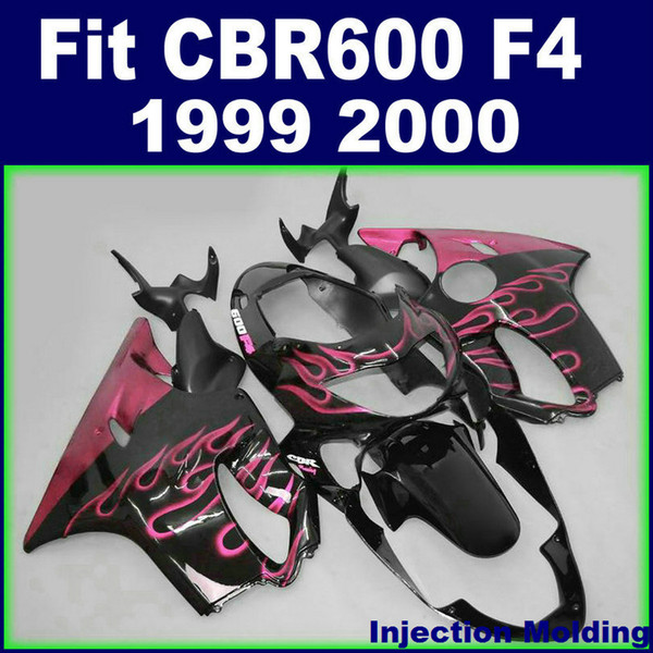 7Gifts + Injection molding customize for HONDA fairings CBR600 F4 1999 2000 pink flame in black 99 00 cbr 600 f4 fairings kits RCNH