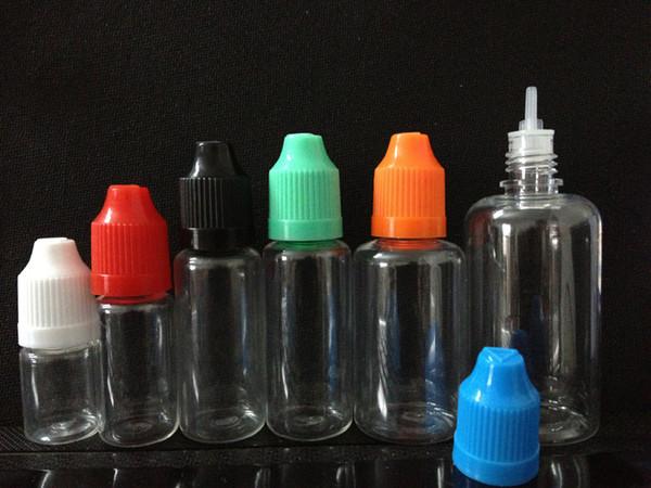 Garrafas plásticas vazias do conta-gotas do líquido de E com os tampões de garrafa do ANIMAL DE ESTIMAÇÃO da prova da criança Pontas da agulha E-Líquido 5ml 10ml 15ml 20ml 30ml 50ml para o cigarro de e