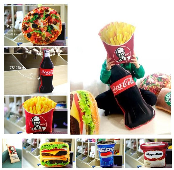 Simulated food stuffed dolls toys French Fries Cola Icecream Hamburger Pizza food CUSHION PILLOWS Cute Funny Festivals gifts decoration A08