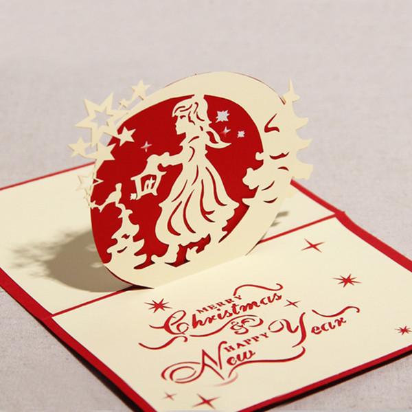 100PCS 3D Christmas Girl with Stars Design Handmade Creative Kirigami & Origami Pop UP Merry Christmas Cards Postcard Free DHL