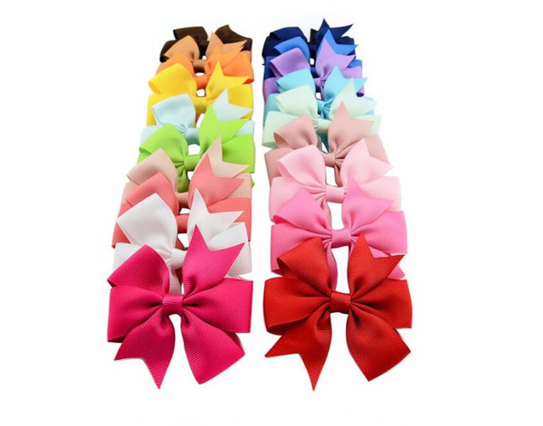 best selling Bows Hair Pin for Kids Girls Children Hair Accessories Baby Hairbows Girl Hair Bows with Clips Flower Clip 40 Colors
