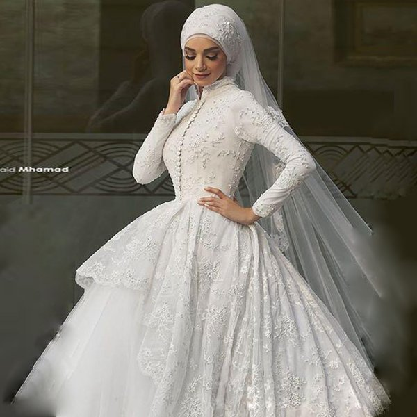 Arab Muslim Lace Wedding Dress With Hijab Beaded Applique Ball Gown ...
