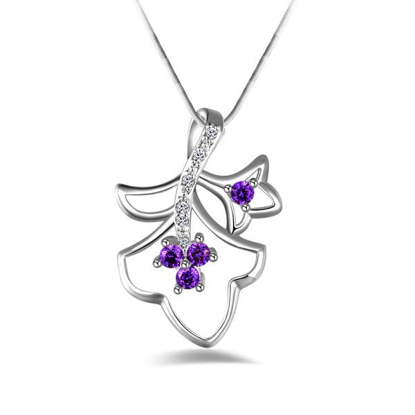 Free shipping fashion high quality 925 silver Double leave Purple diamond jewelry 925 silver necklace Valentine's Day holiday gifts hot 1667