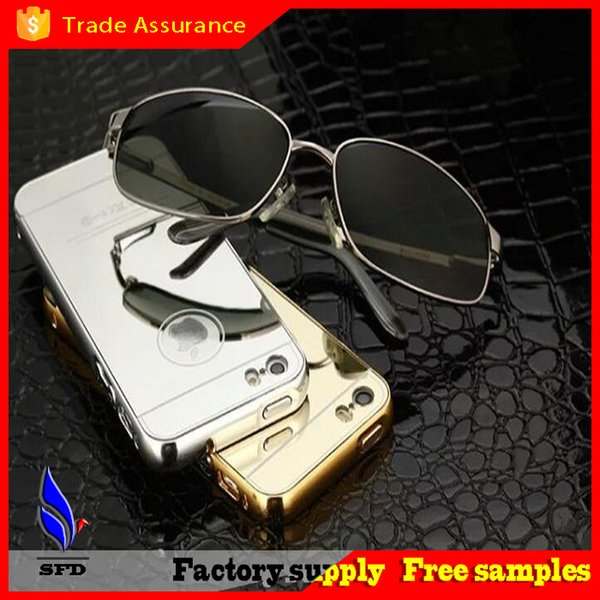Luxury Mirror Metal Aluminium Bumper Hybrid Hard Phone Back Case Cover for iPhone 6 iphone 6 plus