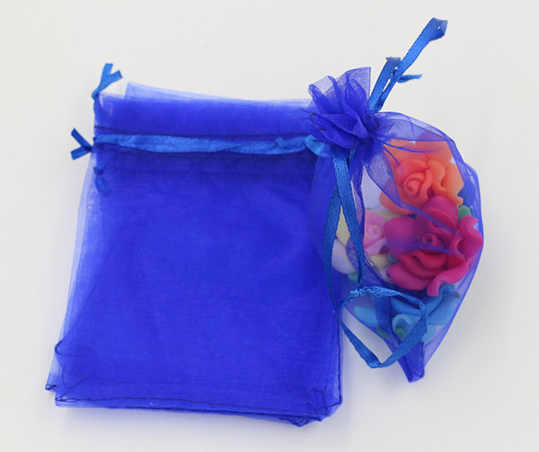 top popular Hot ! Royal Blue 7x9cm 9X11cm 13X18cm Organza Jewelry Gift Pouch Bags For Wedding favors,beads,jewelry (ab647) 2020